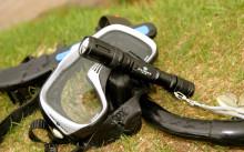 Фонарь и маска для подводной охоты