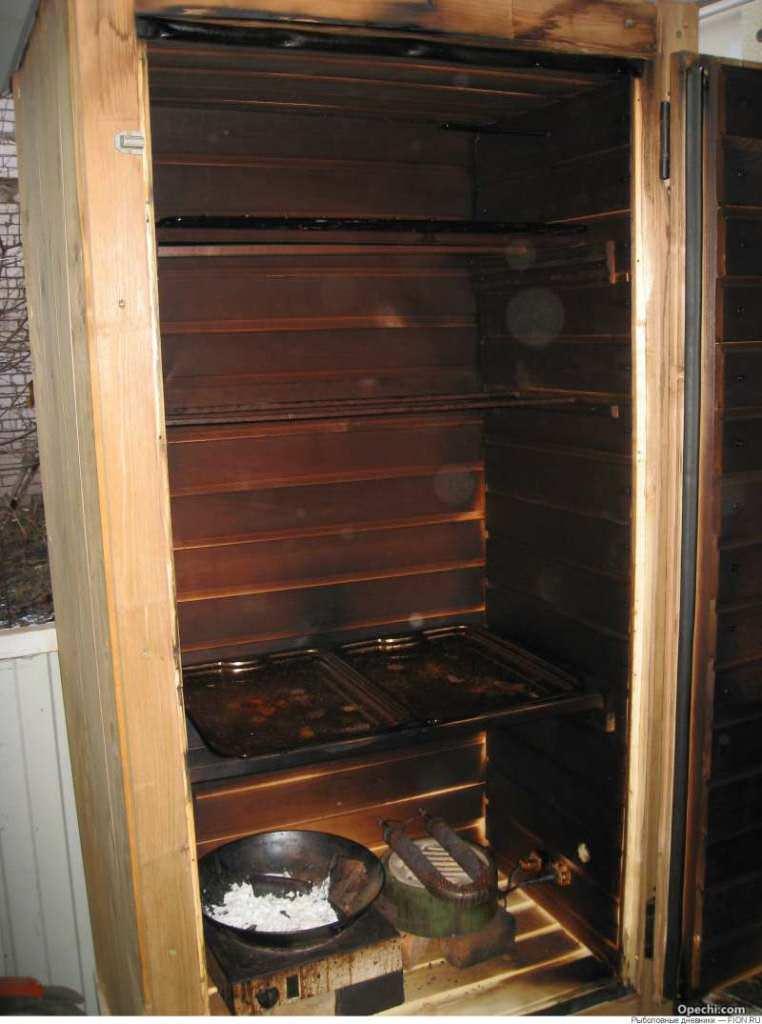 Коптилка из холодильника своими руками для холодного копчения 25