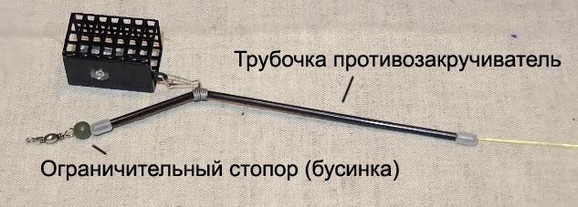 Трубочка противозакручиватель и бусинка (стопор)