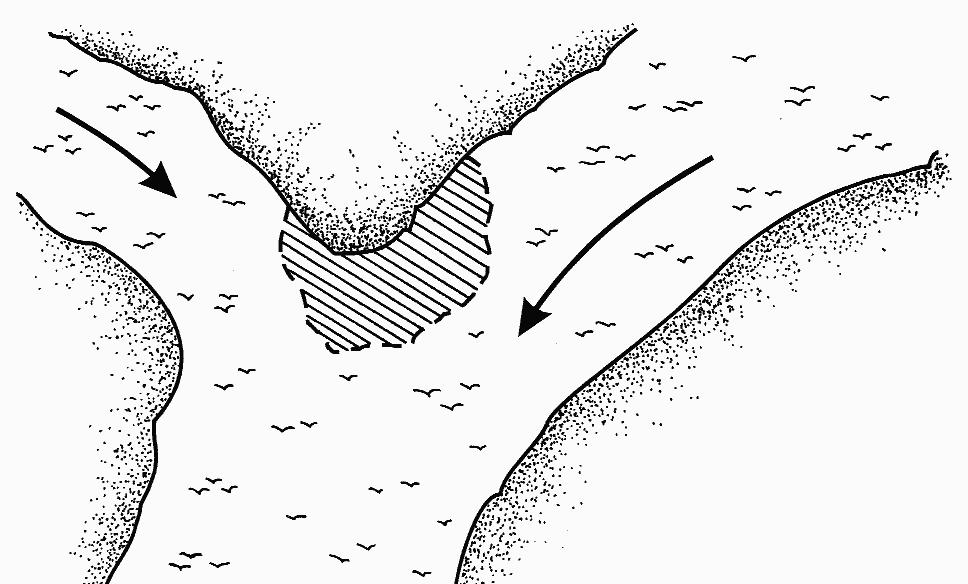 Схема реки с течением