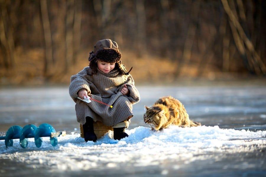Ребенок на рыбалке